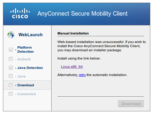 Cisco AnyConnect Installation Failed